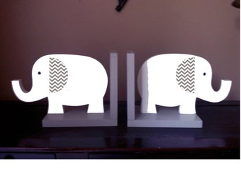 elephant bookends, elephant nursery, wooden elephant, children's bookends, safari bookends, gray nursery, kids bookends, gender neutral