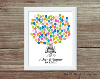 Personalised Hand Drawn Just Married Wedding Car Guest Book Poster Print - Fingerprint or Balloons - Canvas, Paper or Digital Printable