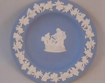Wedgwood Blue Jasperware Pin Dish, Trinket Dish, Cherub holding a head classical design
