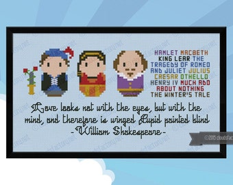 William Shakespeare - Mini Libraries - Cross stitch PDF pattern