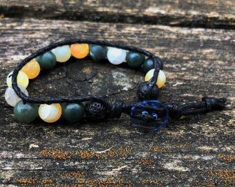 Essential Oil Bracelet / Green & Yellow / Earth Tones  / Diffuser Bracelet / Lava Rock / Natural Stone / Yoga Bracelet