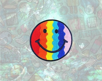 Rainbow Smile Face Patch colorful Patch Gay pride Iron on Patch Sew On Patches back patch