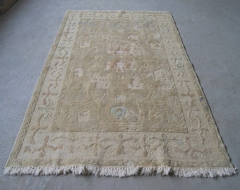 4'2''x6'11'' Relief Oushak Rug, Vintage Turkish Carpet, Handwoven Oriental Rug