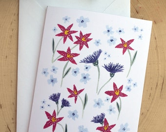 Persian Cornflowers and Stargazer Lilies Blank Notecard and Greeting Cards