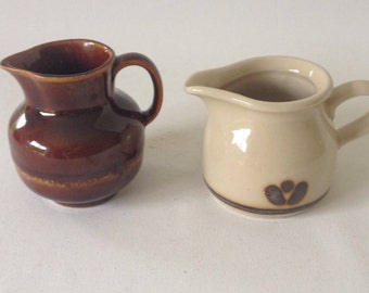 Two small vintage pots, brown and beige, ceramics