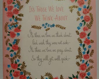 1950s 50s 1960s 60s midcentury vintage pink roses Get Well Soon unused greetings forgetmenots and gold detail so pretty - get well prayer