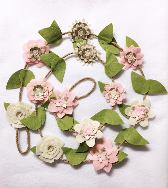 Flower Garland, Pink and Gold Blooms, Felt Flower Garland, Posable Twine, Wedding Decor, Nursery and Party Decoration
