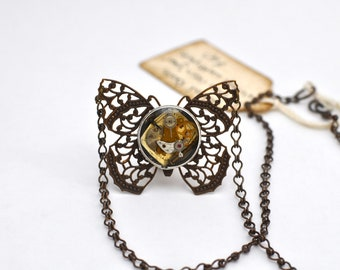 Filigree Steampunk Inspired Butterfly Vintage Watch Parts Under Glass Necklace Natural Brass 00201