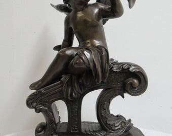 Bronze Trumpeting Cherub Statue Angels A