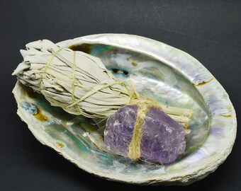 Smudge Kit Abalone shell, Amethyst & White Sage WSHAME01