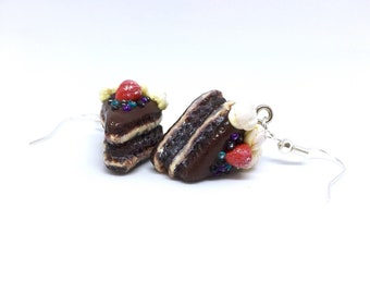 CHOCOLATE CAKE EARRINGS - Polymer Clay Cake earrings - Handmade Miniature Food Jewellery - Hypoallergenic