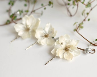 Ivory flower clips, wedding bobby pins, floral clip set, hair pins, woodland hair clips, bridal hair accessory by Gardens of Whimsy - Diana