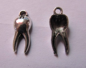 set of 2 silver tooth charms 20mmx9mm