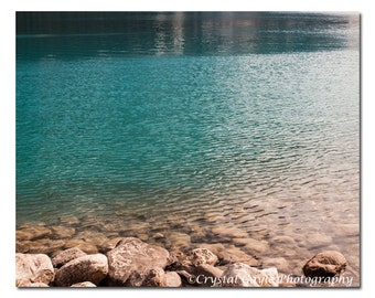 Lake House Art Print, Canadian Landscape Photography, Turquoise Mountain Lodge Wall Art, Lake Louise Teal Waters, Spa Accent, Home Decor