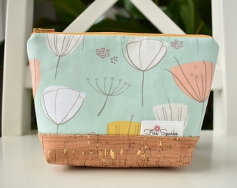 Zipped Pouch - Light Blue, Tulips - makeup bag, cosmetic bag, toiletry bag, accessories bag, small storage bag, small zipper pouch