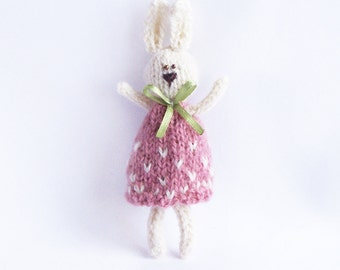 Rabbit gift decor Stuffed bunny with ribbon and dress Home decoration Rustic country indoor decor Multicolor animal Gift for him her
