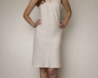 Linen Night Gown With Crochet Front Detail/ Flax Robe/ Linen Night Dress/ Linen Sleepwear/ Linen Luxury Lingerie/ Lush Linen / Handmade