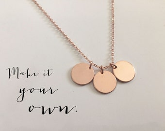 Mom Personalized Rose Gold Disc Necklace, Custom Necklace, Initials, Personalized Necklace, Valentines Day Anniversary, Mother's Necklace