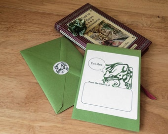 Bookplate stickers for children and other fans of frogs. Frog book plates. Personalize them with name & message. Set of 17 plus envelope.