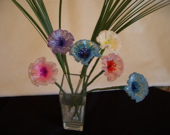 Hand Stitched Beaded Morning Glory Flowers