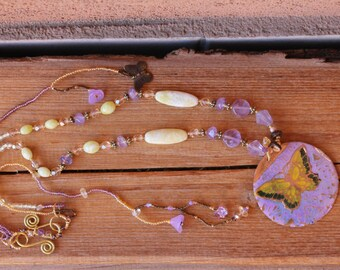 Butterfly in lilac and lemon jade necklace