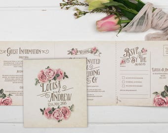 Rustic Wedding Invitation - Double-Folded Ivory Rustic Rose (landscape)