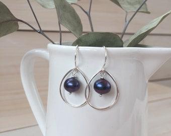 Black Pearl and Sterling Silver Teardrop Earrings