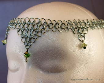 Chainmaille Circlet Seafoam Green with Flowers and Crystals