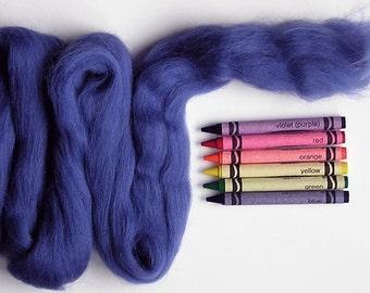CORRIEDALE WOOL ROVING / Blueberry Blue 1 ounce / corriedale roving for needle felting, wet felting, nuno felting, spinning, saori weaving