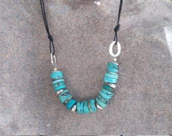 Turquoise, Sterling Silver and Black Leather Necklace