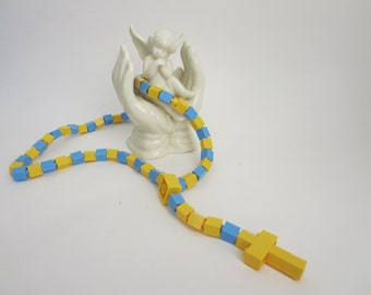 Catholic Kids Rosary Yellow and Light Blue - Catholic Kids Rosary made of Lego Bricks - Ships Today