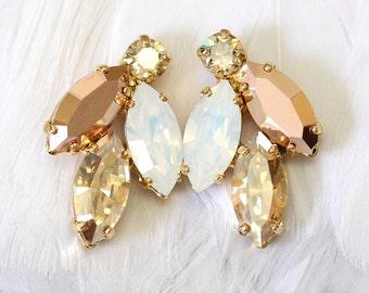 Rose Gold Champagne Cluster Earrings, Swarovski Crystal Earrings, Bridal Rose Gold Earrings, Bridesmaids Earrings,White Opal Champagne Studs