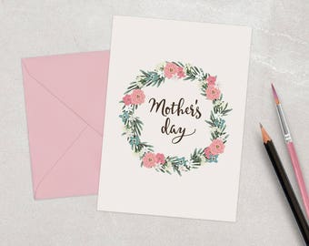 Print Ready Mother's Day Card Template. Printable Mother's Day Card Template. Mom day Card Template with floral wreath. Instant Download.
