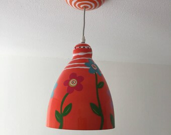 Pylones hanglamp oranje retro look flower power design lamp