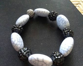 Black, white & gray stretch bracelet