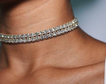 Thin Diamond Choker Necklace 2 Row Gold