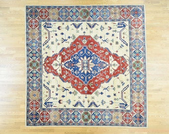 """9'10""""x9'10"""" Hand-Knotted Tribal Design Square Kazak Pure Wool Rug"""