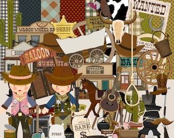 Cowboy Scrapbook Kit, Wild West Scrapbook, Cowgirl Scrapbook, Digital Scrapbook Kit, Instant Download, Childrens  Kit, Western Scrapbook