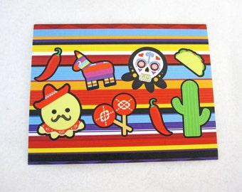 Blank Fiesta Day of the Dead Octopus  Note Card