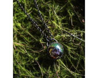 Nature blob Choker with crystals - immortalized moss, lichen, and bark infused with Opalite and  Amethyst Crystals, set in dark copper