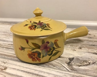 Antique Pillivuyt Pilivite France porcelain small yellow casserole dish with matching lid with pansy flower motif -hard to find in US
