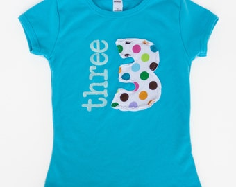 Turquoise Girls Birthday Number Shirt, Personalized Birthday Tee, Birthday Gift for Girl