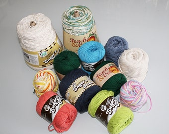 Lot of Sugar n Cream and Lily n Cream Cotton Yarn Destash, Washcloth Yarn
