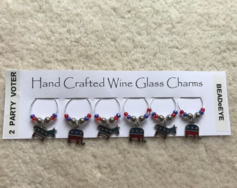 TWO PARTY VOTER! Wine Glass Charms