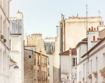 Paris Photography | Montmartre Wall Art Print | Travel & Landscape Photograph | Pastel Colors | Light Blue, Beige, Gray | French Home Decor