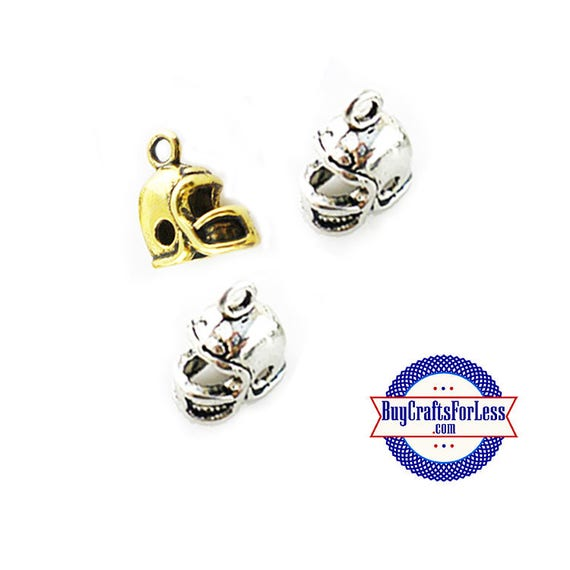 Football HELMET Charms, Silver or Gold, 6, 12 or 25 pcs  +FREE Shipping & Discounts*
