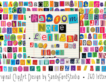 Ransom Note Letters - 260 letters - png and jpeg files - Instant Download