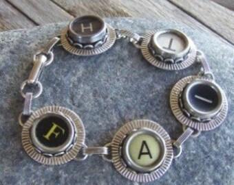 Typewriter Key Bracelet Jewelry - FAITH - Retro - Recycyled - Reclaimed - Vintage - Custom Orders Welcome