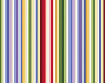 Fabric Benartex A Wildflower Meadow Rainbow Stripe Multi - By the yard - 0296499B 2964-99