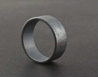 Oxidized Sterling Silver Ring - Mens Wedding Band - Unique Blackened Rough Finish Ring - 8 mm Wide - Unisex - Artisan Metalsmith Guys Ring